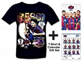 FC Barcelona (La Liga) 2017 Soccer Calendar & Lionel Messi T-Shirt Gift Set