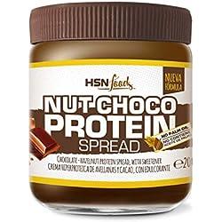 Crème Hyperprotéique de Cacao et Noisettes de HSN Foods - NutChoco avec Whey Protein - Faible en sucre, Sans Huile de Palme, Sans Gluten, Apte pour Végétariens - 200g