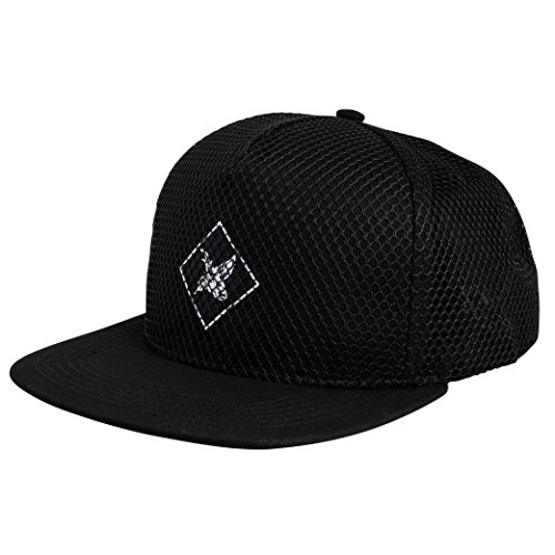 Snapback Cap Schwarz Unisex Baseball Mütze Mesh Style ()