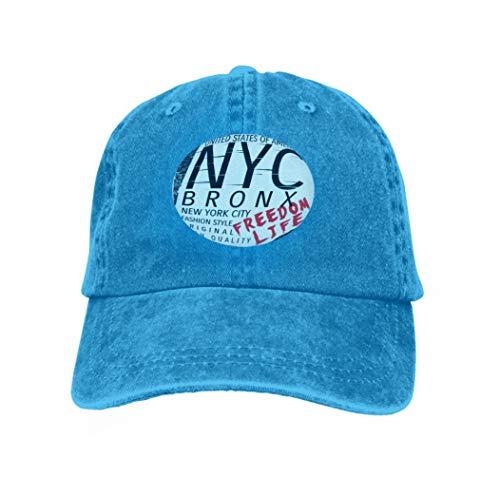 Unisex Adult Baseball Cap Trucker Hat Cowboy Hat Hip Hop Sports Snapback New York City Bronx Grunge Background Typography Poster New Blue