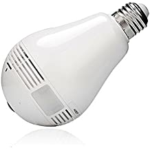 OPTA Wireless Led Bulb with 360 Degree Panoramic Hidden Camera for iOS Android APP Remote Home Security System(White)