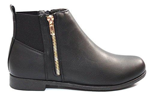 Damen Mädchen Gold Reißverschluss schwarz Chelsea Stiefelette Größe UK 3–8 Schwarz