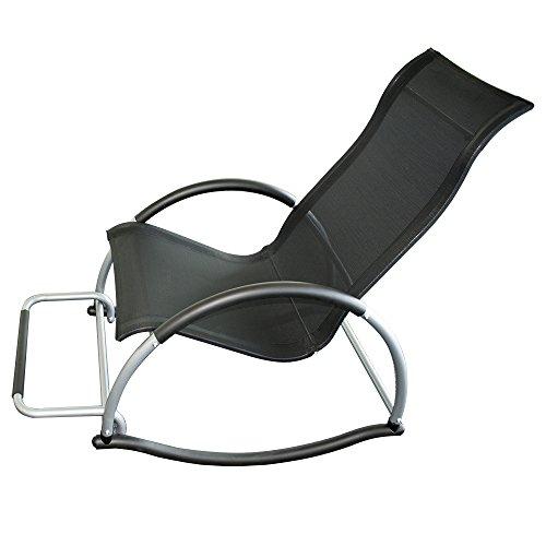 Trueshopping Chaise à bascule Ledro avec repose-pieds Light 4.5kg. Forte toile en aluminium noir Easy Care Textile Fabric. Mouvement doux. Chaise pratique, facilement transportée et élégante