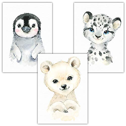 Frechdax® 3er Set Wandbilder Bilder Kinderzimmer Poster | Waldtiere Safari Afrika Tiere Porträt Tierposter (3er Set Pinguin, Eisbär, Schnee Leo) -
