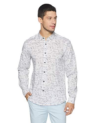 blackberrys Men's Printed Slim Fit Casual Shirt (US PR 619# WWHITE!_Wwhite!_39)