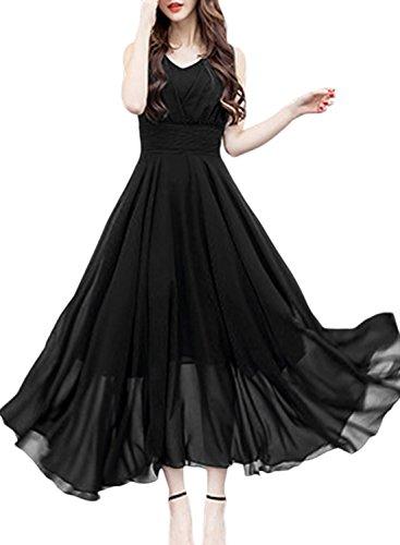Azbro Women's V Neck Sleeveless Chiffon Prom Dress Black