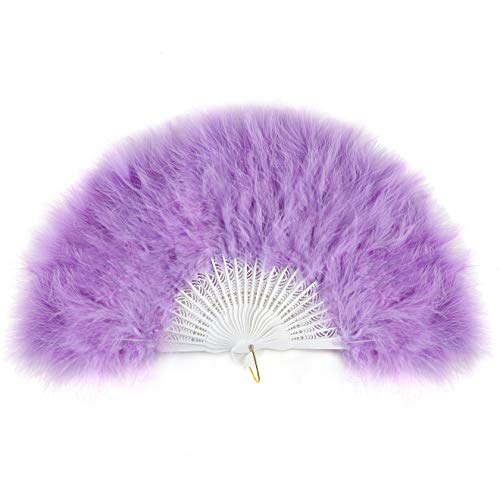 ArtiDeco Damen Fächer Marabou Feder 1920s Vintage Stil Retro Handfächer Damen Gatsby Kostüm Flapper Zubehör (Lila)