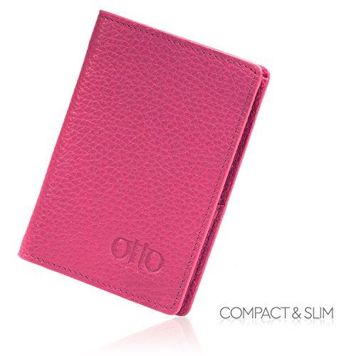 Portafoglio in pelle OTTO - stile passaporto, porta carte per carta di identità, carte della banca, contanti - pieghevole, leggero e di facile trasporto (Rosa) Rosa