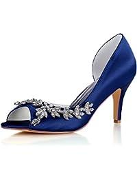 Best 4U® Zapatos De Boda De Las Mujeres Satén Primavera Verano 8CM Tacones Altos Novia Dama De Honor Peep-Toe...