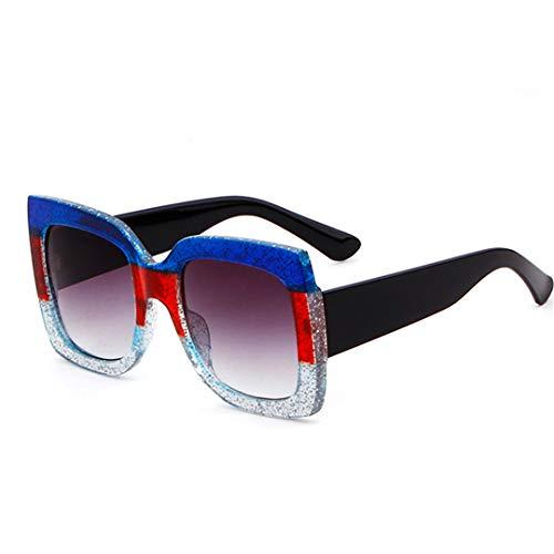 DAIYSNAFDN Frauensonnenbrille übergroße weibliche Sonnenbrille-großer Rahmen bunter Uv400 C1