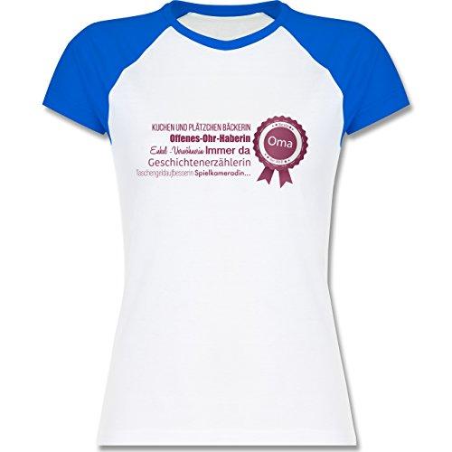 Oma - beste Oma - zweifarbiges Baseballshirt / Raglan T-Shirt für Damen Weiß/Royalblau
