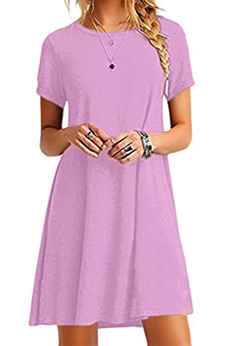 Kleid Shirt Bleibt (YMING Damen Casual Shirtkleid Kurzarm Langes Shirt Rund Ausschnitt Basic Tunikakleid,Lavender,XXL/DE 44)