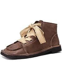 Zapatos con Cordones para Mujer con tacón Cuadrado y bajo Botines Mocasines en Cuero Genuino Vintage