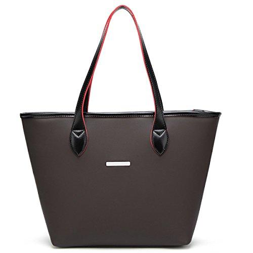 Damen-Leder-Art-große Beutel-Schulter-Schultaschen-Handtasche Black