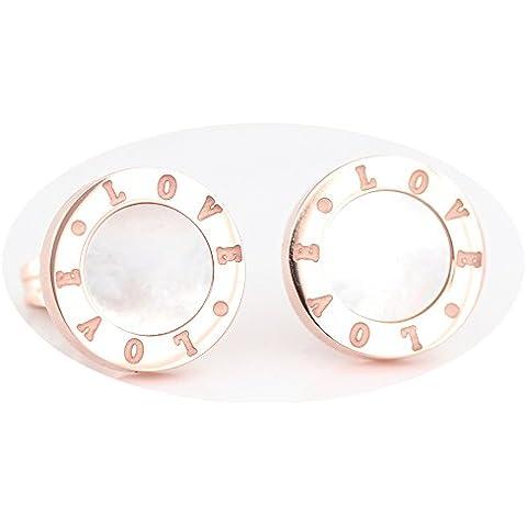 findout 14k chapado en oro rosa de acero de titanio madre de aretes de perlas círculo (f1531); tamaño;. 11mm x