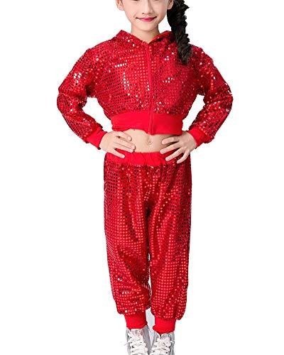 Kinder Mädchen Pailletten Hip Hop Jazz Dance Kostüm Street Dance Kleidung Performance Kostüme School Set Rot 110 (Street Jazz Kostüm)