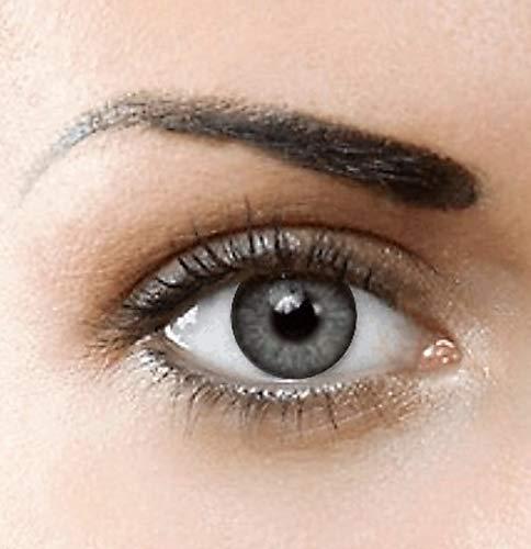 PHANTASY Eyes® HOLLYWOOD Farbige Kontaktlinsen natürliche (HELLGRAU) ohne Stärke,1 paar, (2 Stücke) Jahreslinsen + gratis Kontaktlinsenbehälter