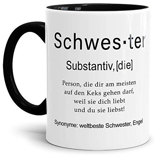Tassendruck Tasse mit Definition Schwester - Wörterbuch/Geschenk-Idee/Dictionary/Beruf/Job/Arbeit/Familie/Innen & Henkel Schwarz