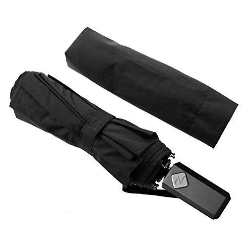 Cuxus ombrello portatile automatico antivento, ombrello pieghevole compatto resistente leggero con custodia impermeabile e 10 stecche rinforzate in teflon, ombrello da viaggio