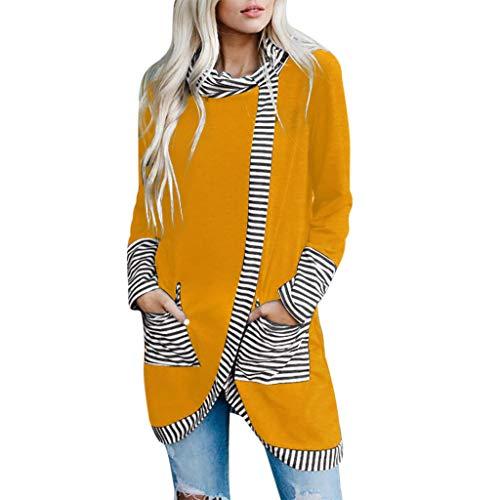 Kolila Damen Unregelmäßige Tunika Pullover Streifendruck Splice Haubenkragen Flowy Hem Lose Beiläufige Langarmshirts Bluse Sweatshirts Tops