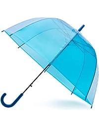 GadHome - Paraguas Transparente | Paraguas de Domo Grande de 81 cm para Mujeres, Sesiones de Fotos| Paraguas Azul Translúcido Ligero Plegable de Señora con Mango Azul en C