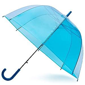 GadHome Transparenter Regenschirm groß Himmelblau | 81 cm Regenschirm durchsichtig | Stockschirm Damen/Herren | Blauer…