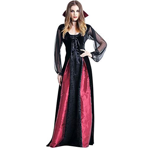 (Liny Halloween Kostüm Vampir Damen Verkleidung - Geisterbraut Friedhofsbraut Kleid Schwarz Kostüm Karneval Sexy Fasching Prinzessin Zombie Abendkleid Ausführen Böse Königin Cosplay Outfit)