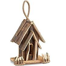 Relaxdays 10021104 Casetta per Uccelli Decorativa Legno Nido Uccellini con Gancio Fatto a Mano Decorazione da Balcone Naturale