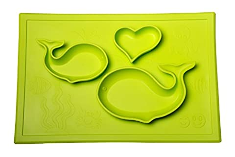 Smith's Happy Mat - One-Piece Silicone Placemat + Plate (Lime) + FREE Smith's Caterpillar Silicone (Piega Funghi)