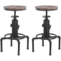 IKAYAA Lot de 2 Tabouret de Bar de Style Industriel Vintage en Bois Hauteur Réglable Chaise de Salle à Manger