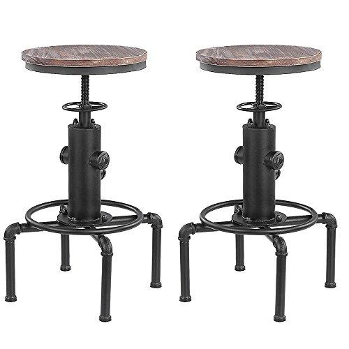 El taburete moderno de estilo industrial iKayaa se utiliza como taburete de bar o taburete de cocina. Hecho de metal de alta calidad y madera natural, es resistente y cómodo para sentarse. Taburete elegante, decoraciones para el hogar fáciles de comb...