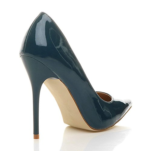Donna tacco alto lavoro festa elegante scarpe de moda décolleté a punta taglia Blu verde vernice