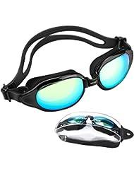 Laelr Occhialini da Nuoto Protezione UV No Leaking Anti Fog Specchiati Triathlon con Custodia Protettiva per Uomini Adulti Donne