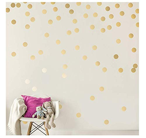 lder) - Sicher An Wänden & Farbe - Metallic Vinyl Polka Dot Dekor - Runde Kreis Kunst Glitter Aufkleber - Großes Papierblatt Baby Kinderzimmer Zimmer Set ()