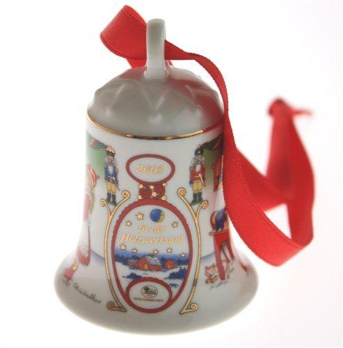 """Porzellanglocke, Weihnachtsglocke 2008 """"In der Holzwerkstatt"""", Design:Ole Winther"""