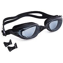 Gafas de Natación para Adultos Gafas para Nadar Anti-Niebla Gafas Natacion con Caja de Protección Tapones para Oídos y Puentes Nasales, Negro