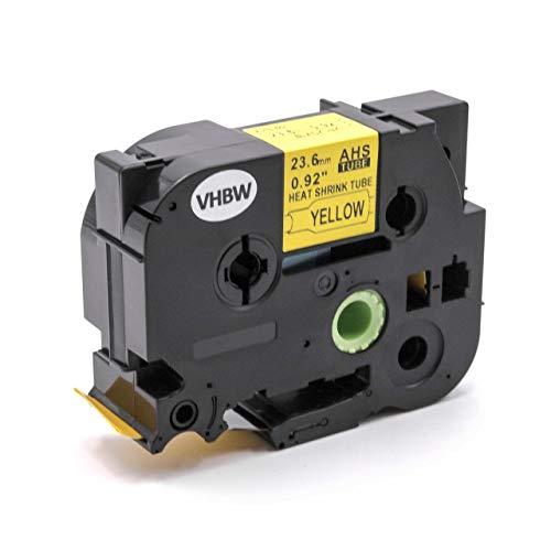 vhbw Schrumpfschlauch Kassette schwarz auf gelb 23,6mm für Etiketten-Drucker Brother P-Touch E500, E500VP, E550W, E550WVP, H500, H500LI, P700