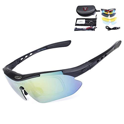 YX Glasses Herren Sonnenbrille Polarisierte Klassische Retro Sonnenbrille Herren UV400 Schutzmontagespiegel Winddicht Sportspiegel 1 Paar Gläser 5 Linsen Matte Black