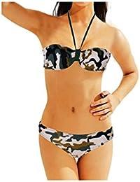 """Bikini de 2 piezas de banda """"Militar"""", color marrón"""