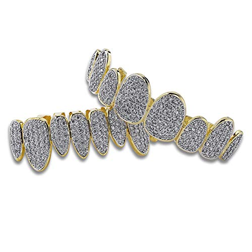 L&H Hip-Hop-Hosenträger Barbecue Set Micro-Inlaid Diamond Gold Hosenträger Unregelmäßige 8 Zähne Vollzirkon Barbecue Modeschmuck Männer und Frauen, Gold -
