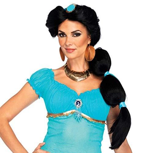 ke anime Aladdin Jasmin Prinzessin lange schwarze Perücke. klassische Halloween Frauen Cosplay Perücke ()