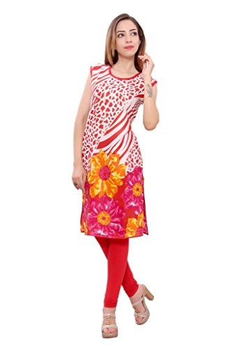 Kurti Studio Festive Red Unstitched Cotton Kurti Dress Material