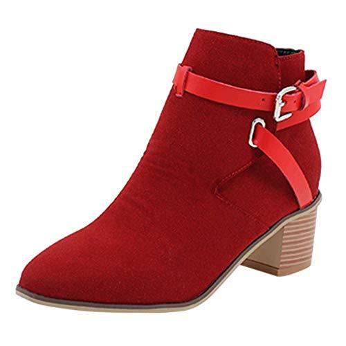 ZHANSANFM Kurz Stiefel Damen Spitz Zehen Wildleder Ankle Boots mit Blockabsatz Schnalle Elegant Retro Schuhe Leicht Gefüttert Bequemer Stiefeletten Rutschfeste Freizeitschuhe (37 EU, rot) -
