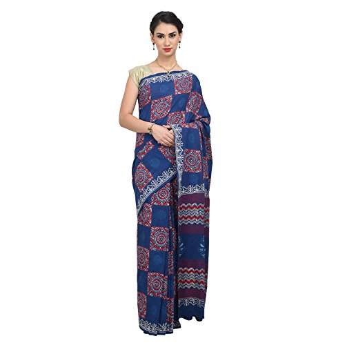 The Weave Traveller Handloom Ajrak Hand Block Printed Cotton Saree With Blouse...