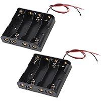Con cable Conector 4 x 1.5V Baterías AA Soporte Funda Caja De Almacenamiento 2 Piezas