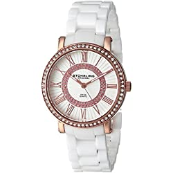 Stuhrling Original Women's 630.03 Fusion Quartz Watch with White Dial Analogue Display and White Ceramic Bracelet