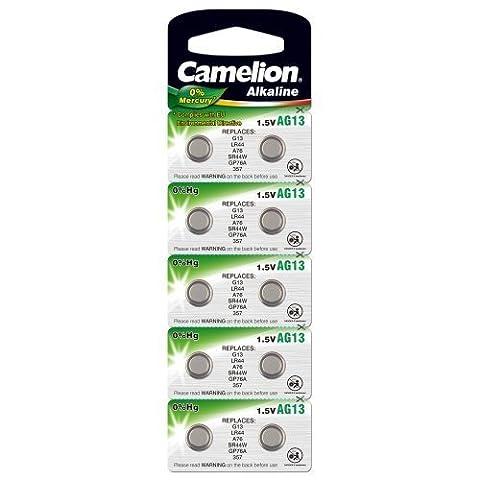 Knopfzelle Camelion Typ V13GA Alkaline 10er Blisterkarte, Alkaline, 1,5V