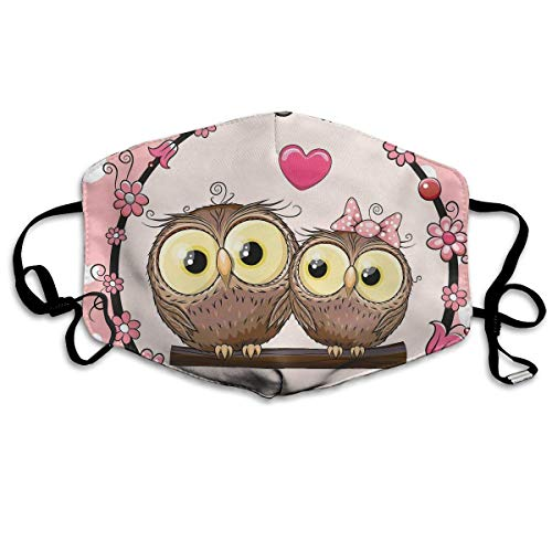 HUSDFS Mouth Masks Two Cute Cartoon Owls Mouth Mask Unisex Dust Protecting Mask Reusable Mask for Men and Women
