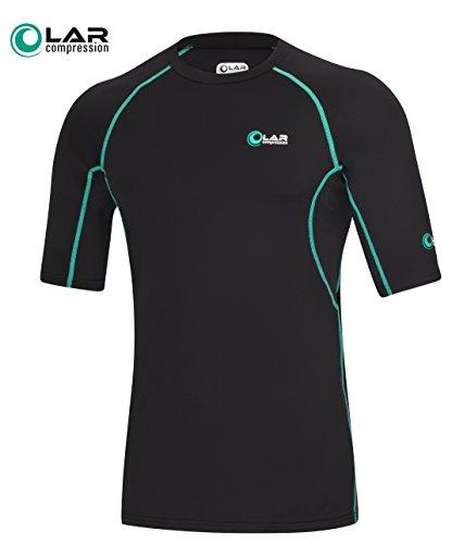 LAR compression Kompressions-Shirt kurzarm Funktionsshirt Funktionswäsche Herren Schwarz Fitness Sport (XL)