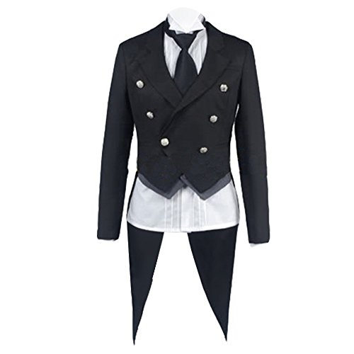 Jeylu schwarz Butler Kuroshitsuji Sebastian Cosplay Kostüm EU Größe Gr. Medium, ()